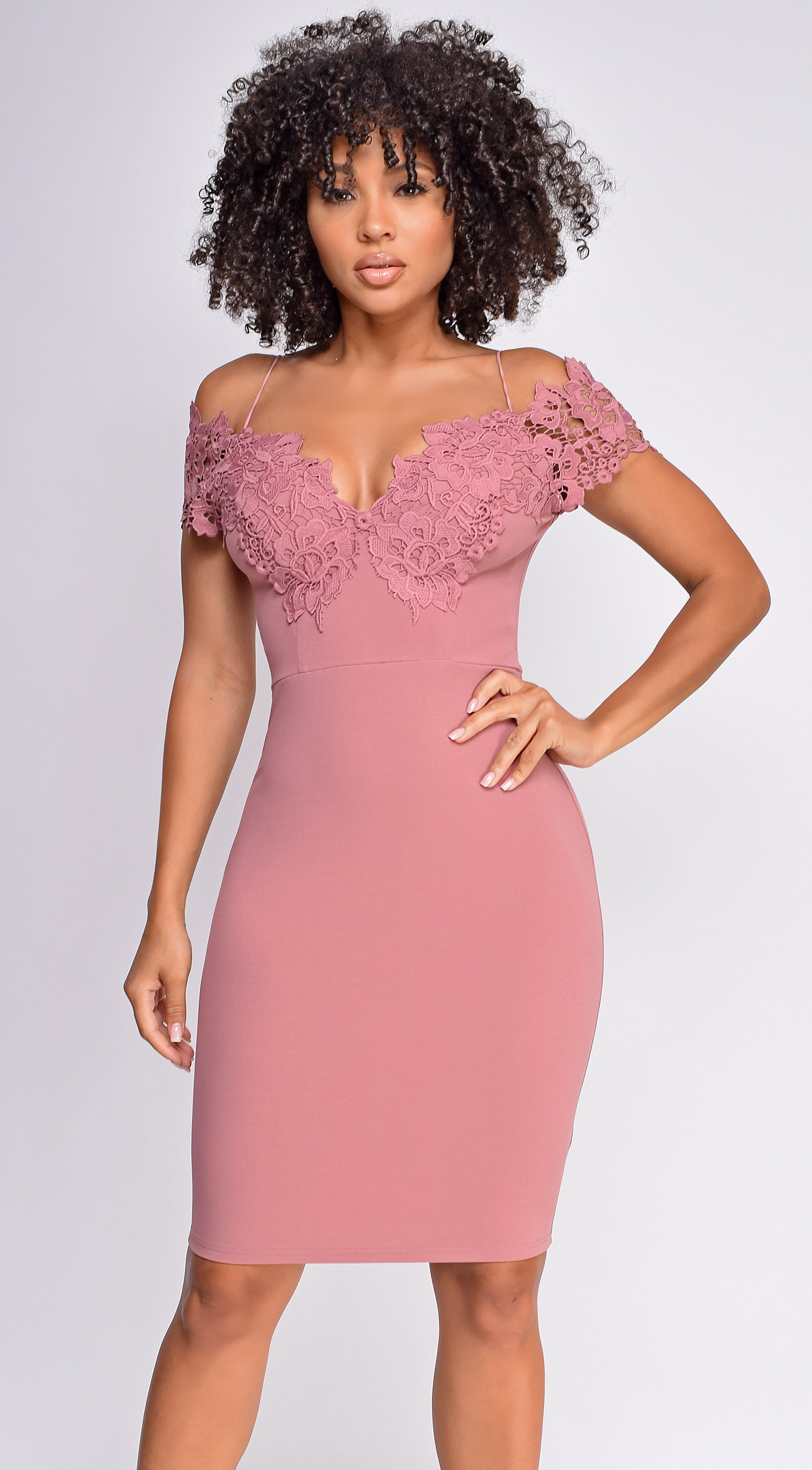 Teana Mauve Pink Lace Off Shoulder Dress