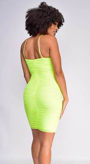 Ariya Neon Green Ruched Mesh Dress