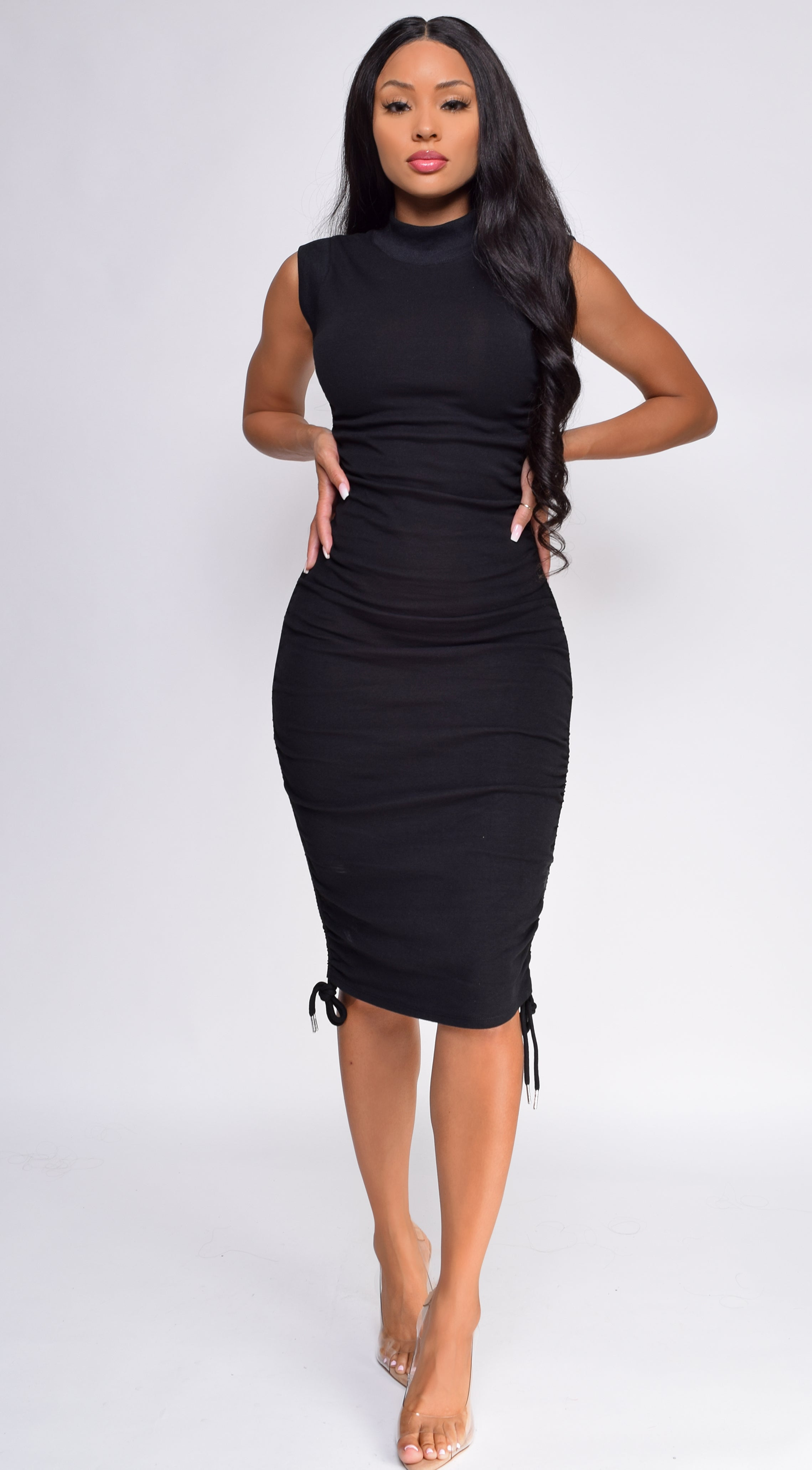 Harleen Black High Neck Ruched Dress