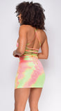 Fusion Orange Lime Tie Dye Summer Skirt Set