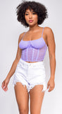 Elva Lavender Purple Mesh Ruched Cage Corset Top