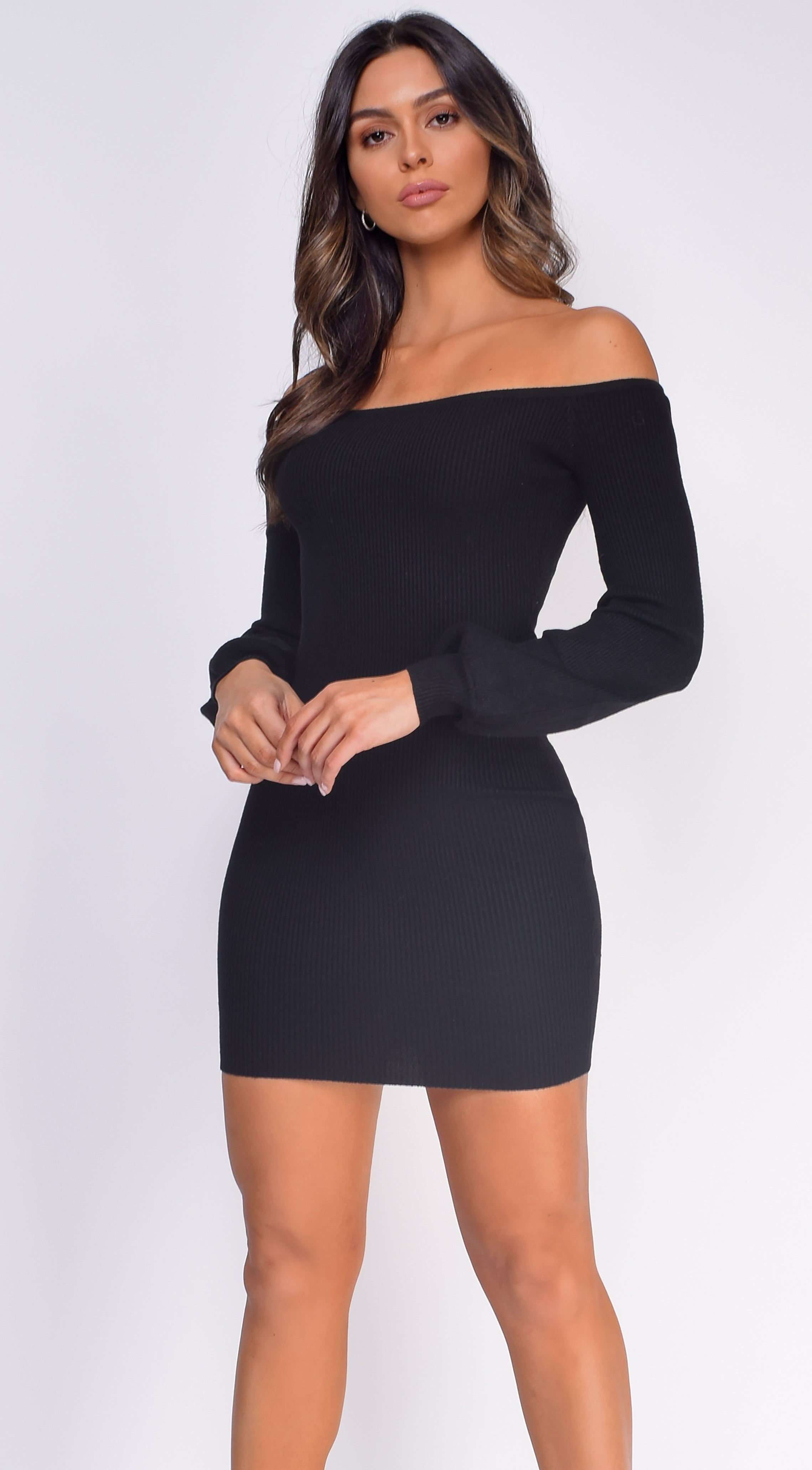 Addison Black Off Shoulder Bubble Sleeve Dress