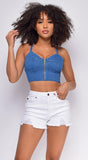 Gene Blue Denim Bustier Zip Up Crop Top
