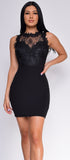 Ashanti Black Floral Trim High Neck Dress