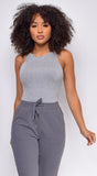 Seren Grey Sleeveless Racerback Bodysuit