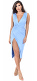 Blue Faux Suede Wrap Slit Dress - Emprada