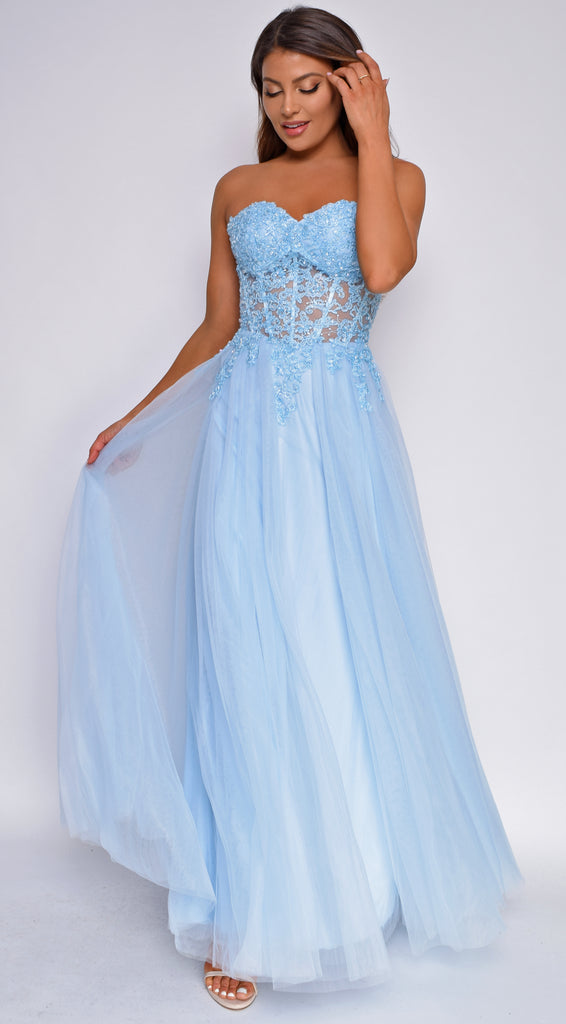 Angella Blue Strapless Lace Tulle Aline Gown