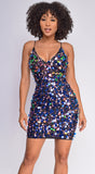 Janique Black Multi Color Sequin Dress