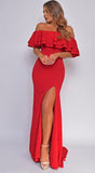 Noelani Red Ruffled Off Shoulder Slit Gown