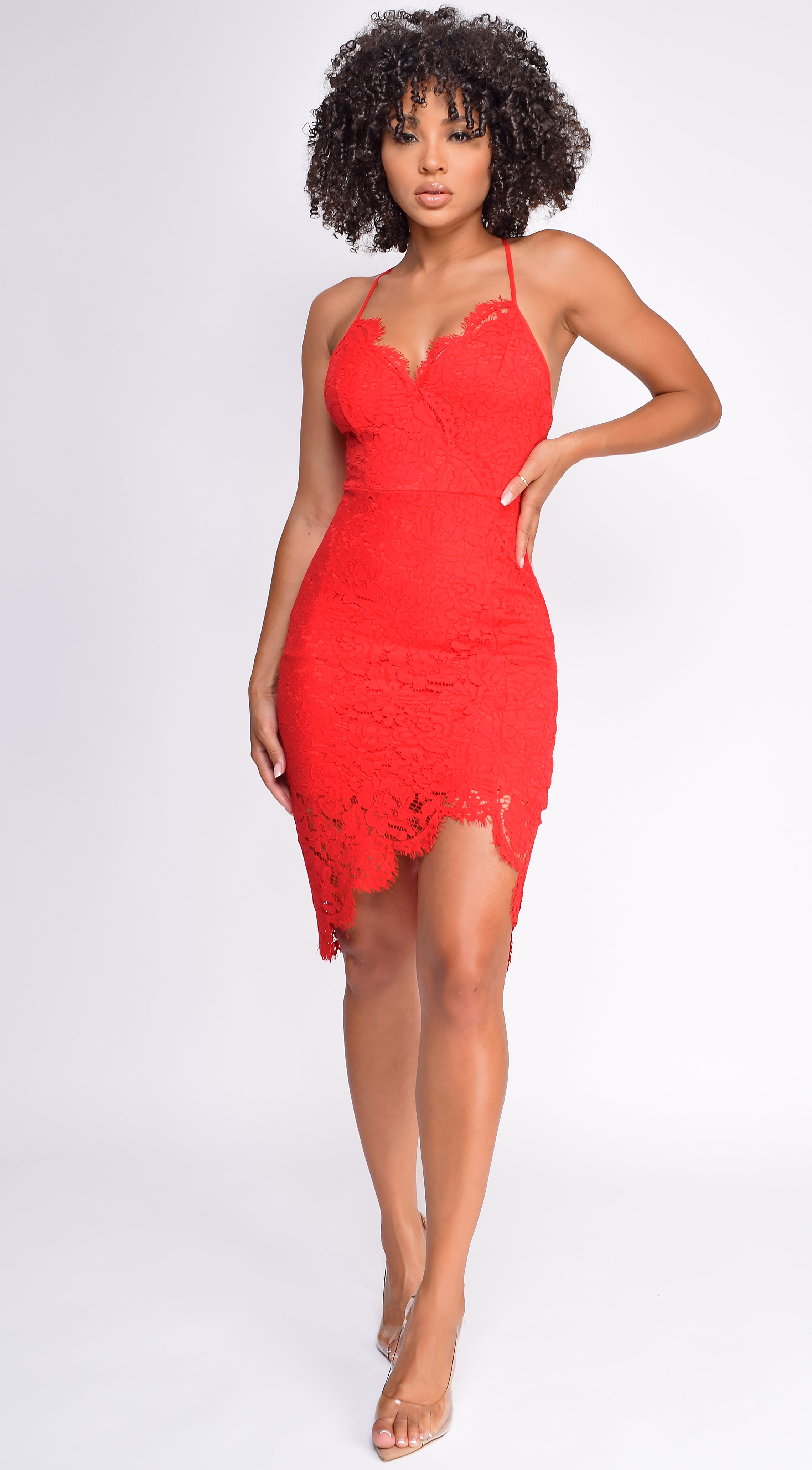 Taline Red Lace Dress