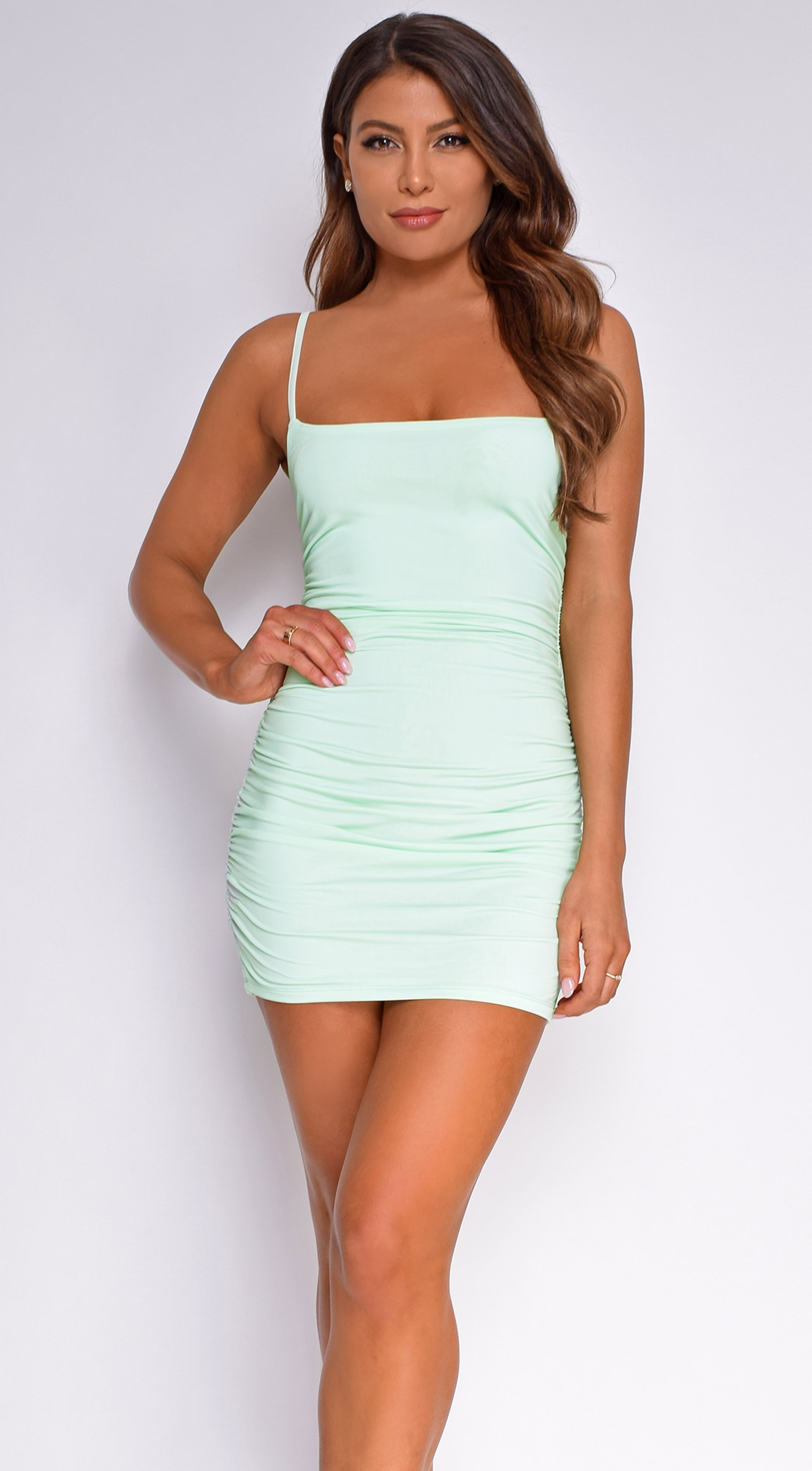 Clyde Mint Green Ruched Mini Dress
