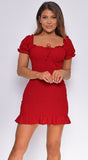 Piper Crimson Red Smocked Dress