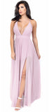 Aurora Pale Pink Front Slit Maxi Dress - Emprada