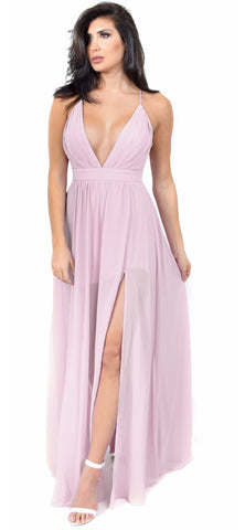 Aurora Pale Pink Front Slit Maxi Dress