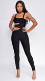 Chandice Black Side Cut Out Bandage Jumpsuit