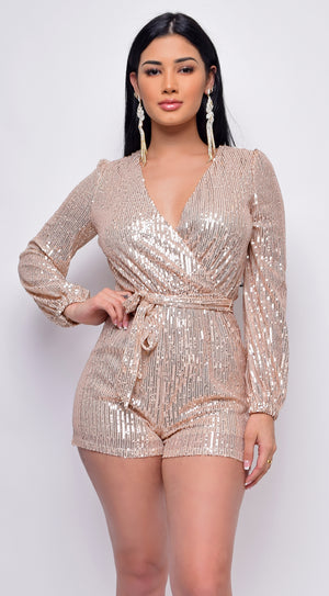 Tempo Rose Gold Sequin Long Sleeve Belted Romper