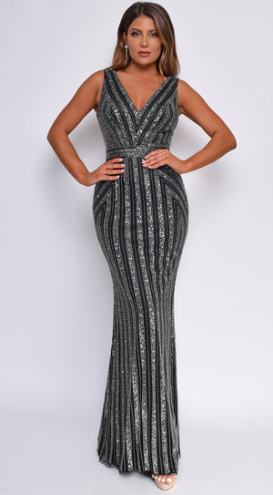 Lyndia Black Silver Beaded Gown