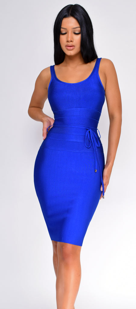 Brandi Royal Blue Bandage Dress - Emprada