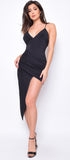 Ailsa Black Wrap Asymmetrical Dress - Emprada
