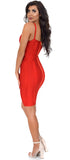 Lucila Red Belted Bandage Dress