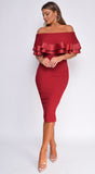 Raylin Burgundy Red Satin Trim Ruffle Off Shoulder Midi Dress