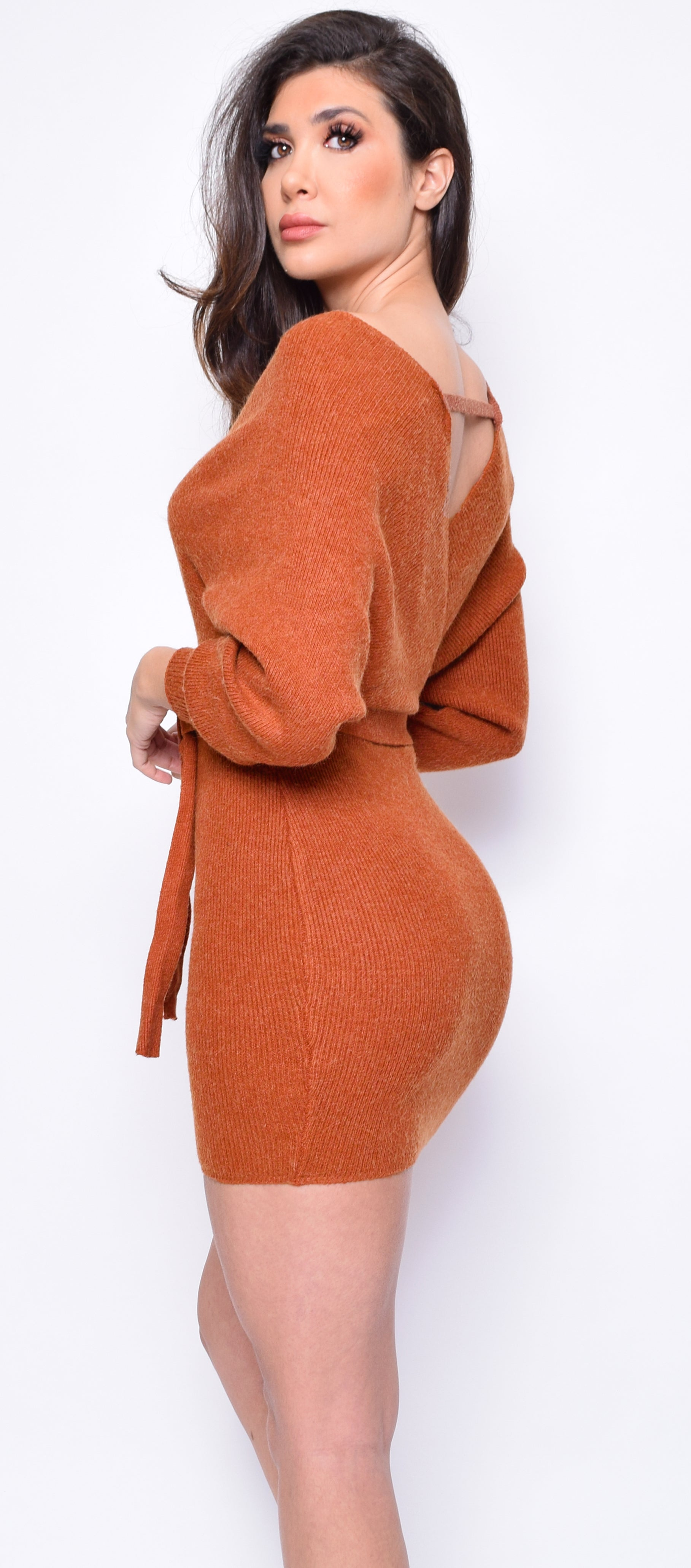 Ginette Camel Brown Long Sleeve Wrap Sweater Dress