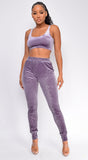 Bentlee Lavender Purple Velvet Tank Pant Set