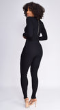 Nichol Black Cargo Pocket Ribbed Jumpsuit