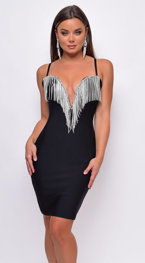 Zandra Black Plunge Deep V Neck Crystal Bandage Dress