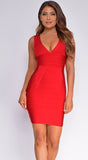 Caspian Red V Neck Bandage Dress
