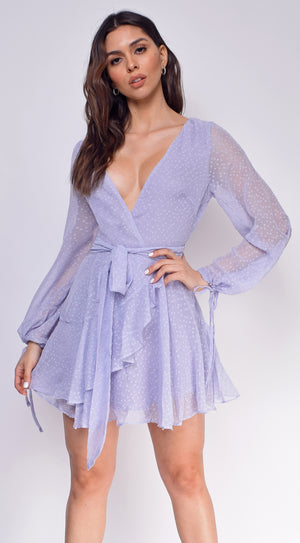 Zahra Grey Textured Chiffon Long Sleeve Dress