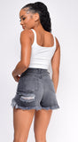 Layton Stone Grey Shredded High Rise Denim Shorts