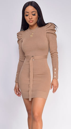 Adra Beige Puff Shoulder Belted Sweater Dress