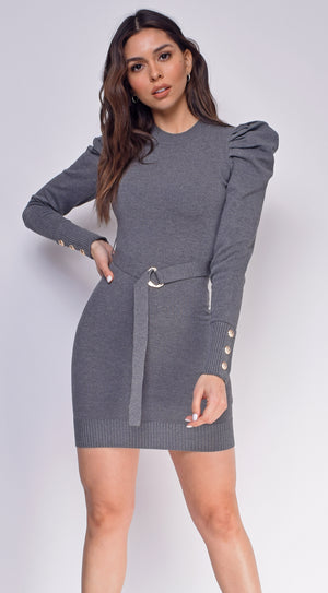 Adra Grey Puff Shoulder Belted Sweater Dress