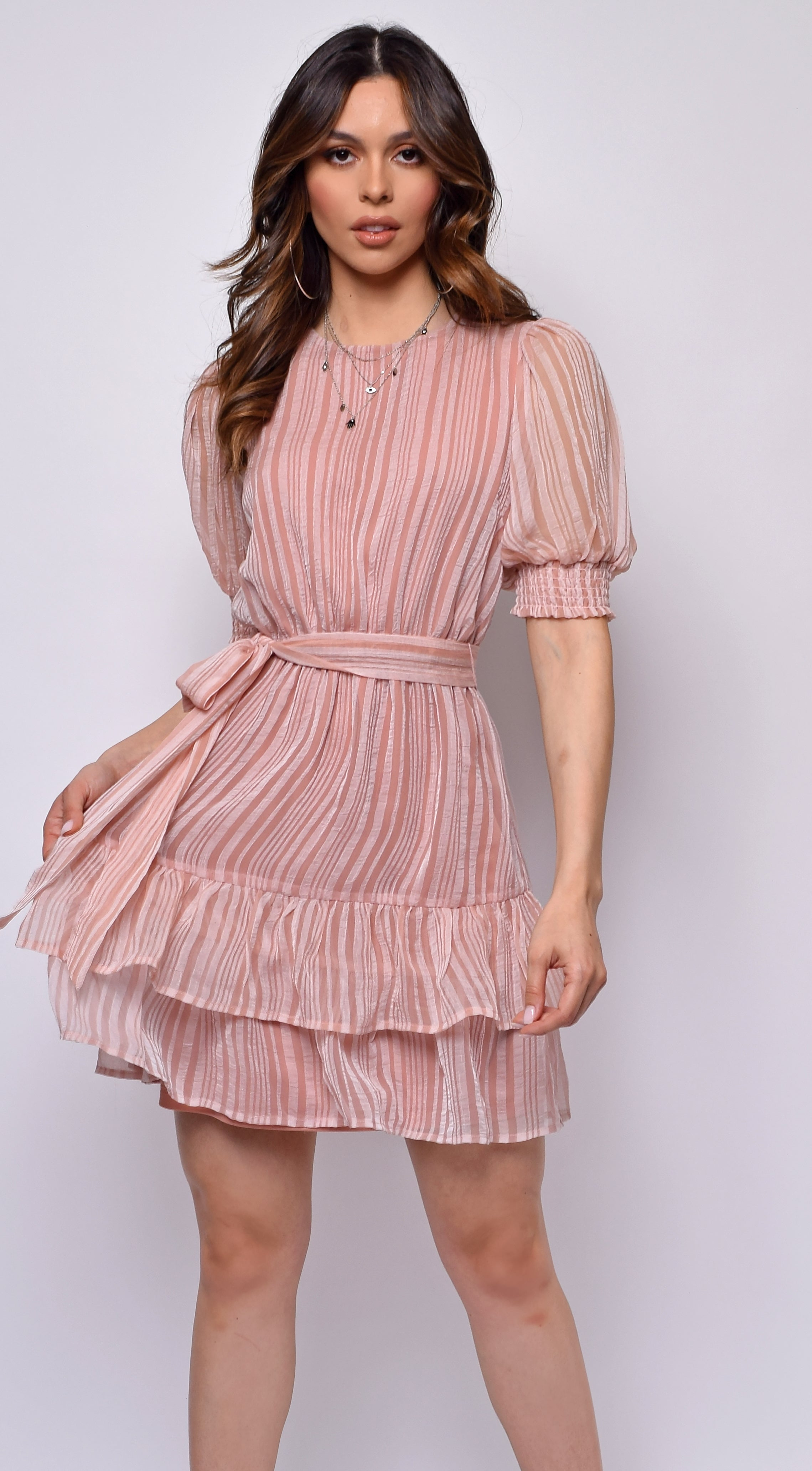 Valentina Mauve Ruffle Dress