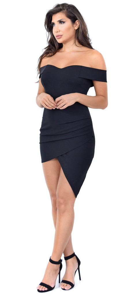 Amaris Black Off Shoulder Dress - Emprada