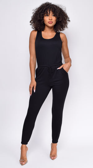 Play It Cool Black Sleeveless drawstring Jogger Jumpsuit