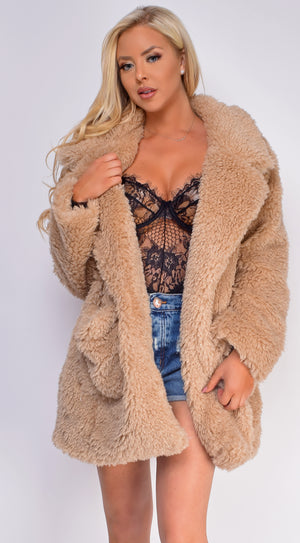 Audrey Tan Nude Faux Fur Coat