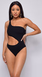 Poolside One Shoulder Black Swimsuit