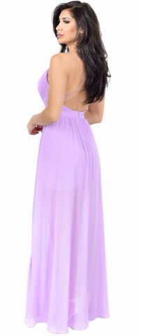 Aurora Lilac Front Slit Maxi Dress
