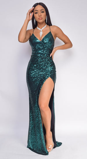 Lara Emerald Green Sequin Wrap Gown