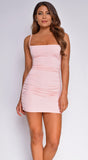 Clyde Pink Ruched Mini Dress
