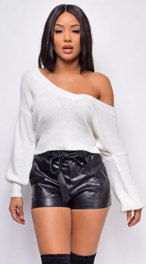 Riza White Off Shoulder Sweater