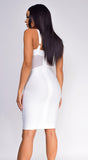 Casella White V Neck Bustier Mesh Bandage Dress