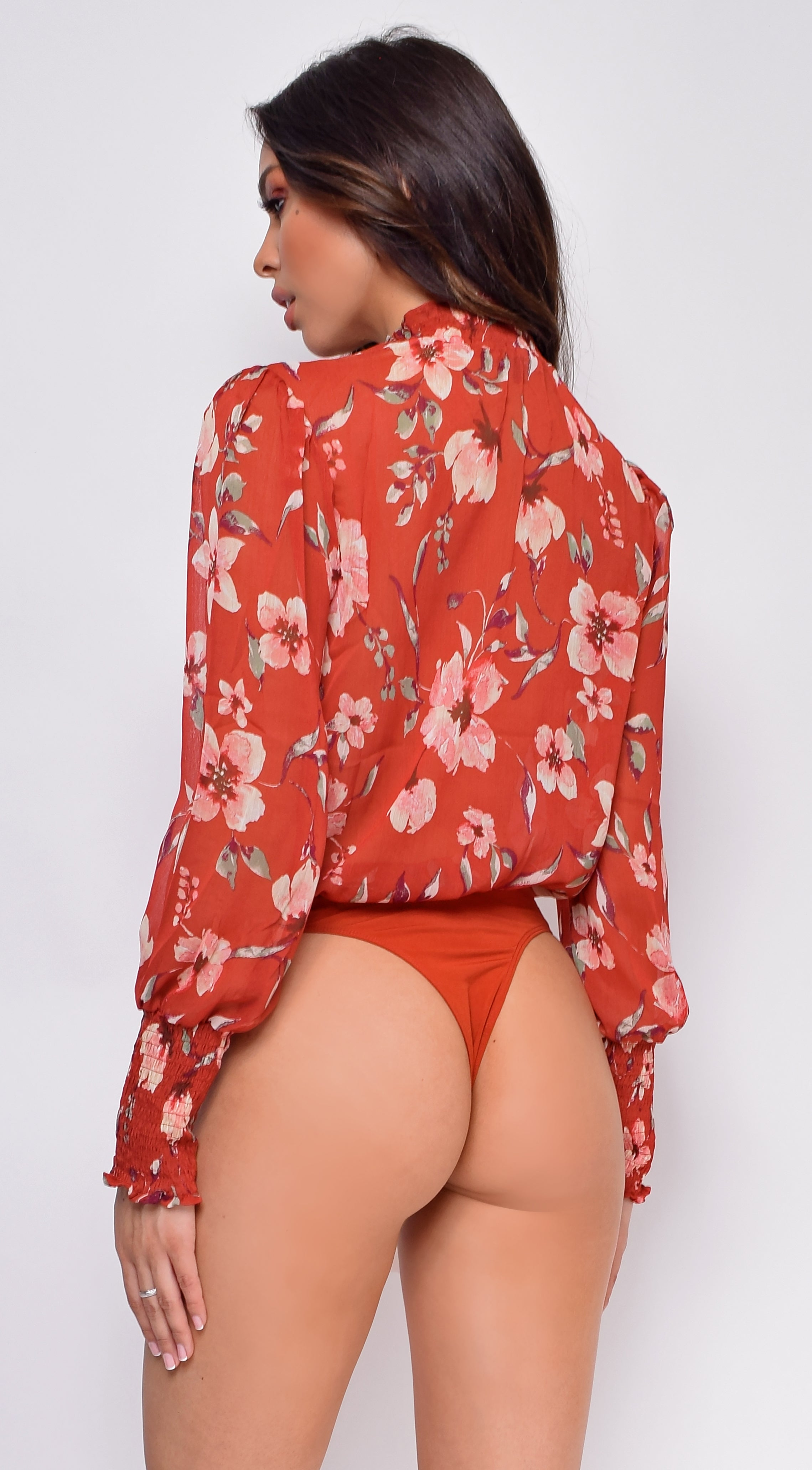 Elle Red Floral High Neck Bodysuit