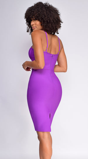 Oliva Purple Corset Detail Bandage Dress