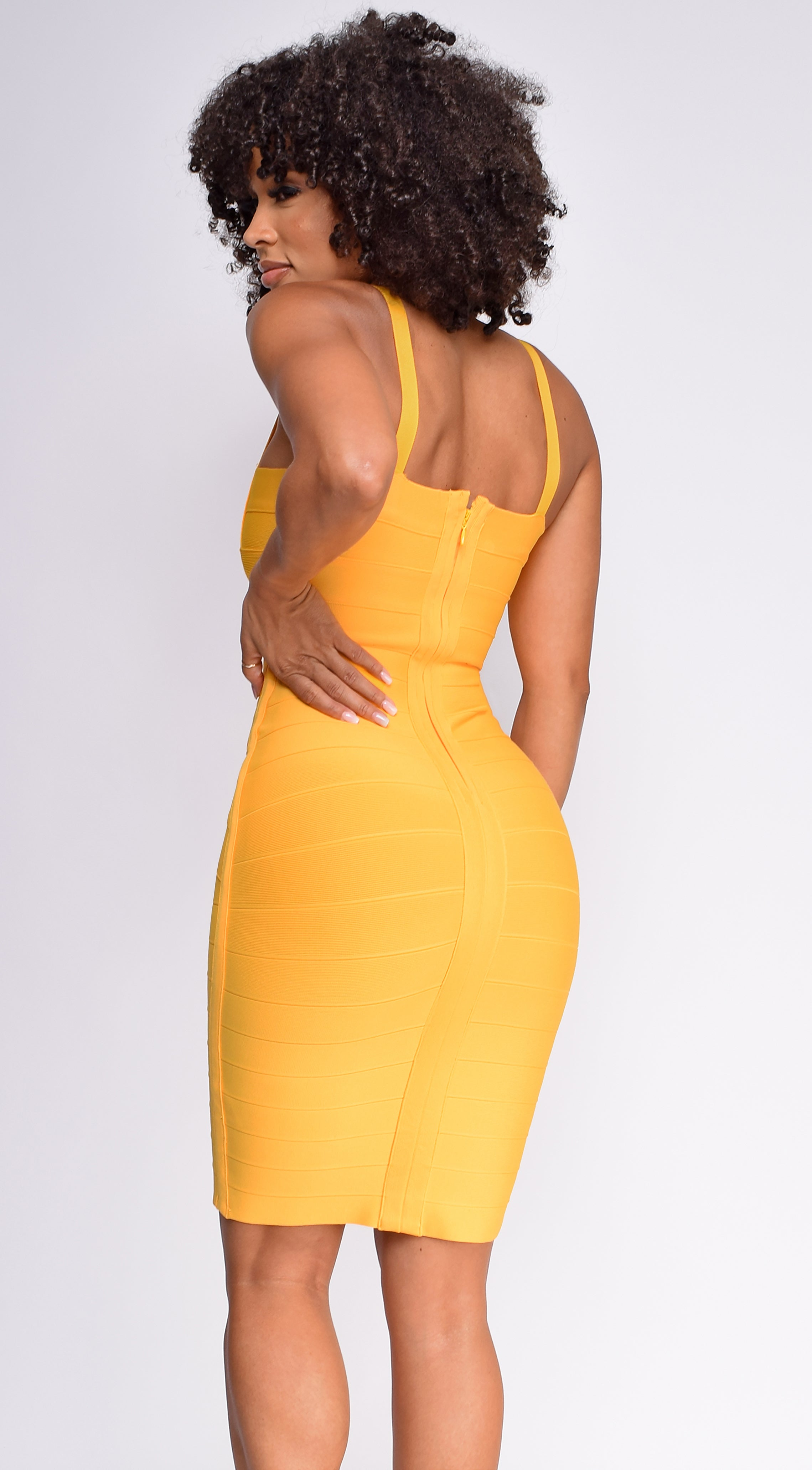 Cynthia Dark Yellow Bandage Dress