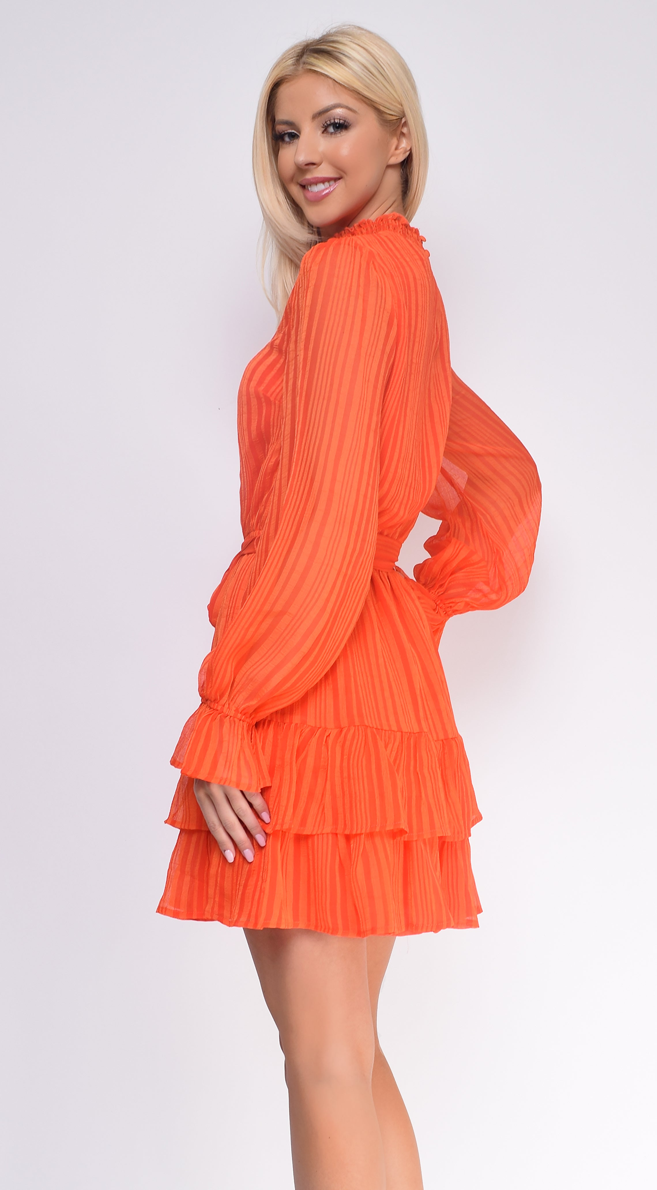Javana Orange Smocked High Neck Ruffle Dress
