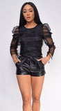 Calin Black Ruched Puffy Organza Top