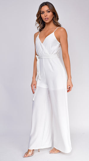 Scarlet White Wrap Front Wide Leg Jumpsuit